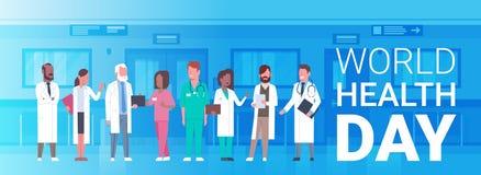 Affiche de jour de santé du monde avec la bannière de Team Of Medical Doctors Horizontal illustration libre de droits