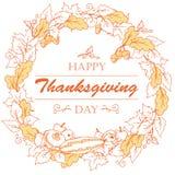 Affiche de jour de thanksgiving avec des feuilles d'automne, des légumes et des fruits, contours Photos libres de droits