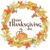 Affiche de jour de thanksgiving avec des feuilles, des légumes et des fruits d'automne Photos libres de droits