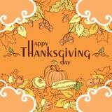 Affiche de jour de thanksgiving avec des feuilles, des légumes et des fruits d'automne Photographie stock libre de droits