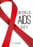 Affiche de Journée mondiale contre le SIDA Ruban rouge réaliste avec le masque de coupure Photo libre de droits