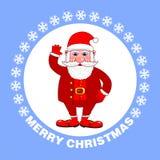 Affiche de Joyeux Noël avec Santa Claus sur un fond bleu Carte de voeux de vacances Illustration de vecteur illustration de vecteur