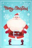 Affiche de Joyeux Noël avec Santa Claus Winter Holiday Banner Design Photos stock