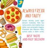 Affiche de la livraison de restaurant d'aliments de préparation rapide de vecteur Photos libres de droits