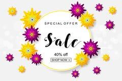 Affiche de la publicité avec des fleurs coupées de Livre vert jaune et canette illustration stock
