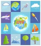Affiche de la terre d'amour faite d'illustrations carrées illustration de vecteur
