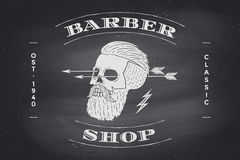 Affiche de label de Barber Shop sur le tableau noir Photo stock