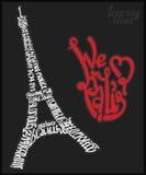 Affiche de lettrage de Paris de Tour Eiffel Image libre de droits