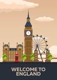 Affiche de Londres l'angleterre Horizon de Londres Illustration de déplacement Photo stock