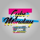 Affiche de lundi de Cyber et texte d'effet de problème Image libre de droits