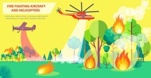 Affiche de lutte contre l'incendie avec les avions et l'hélicoptère illustration libre de droits