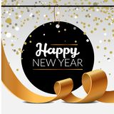 Affiche de luxe de nouvelle année avec les rubans d'or de partie de confettis de tresse et d'étincelle Illustration de vecteur de photos libres de droits