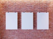 Affiche de maquette dans l'intérieur de style d'art déco 3d rendent Mur de briques Illustration images libres de droits