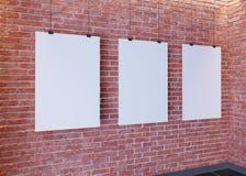 Affiche de maquette dans l'intérieur de style d'art déco 3d rendent Mur de briques Illustration image libre de droits