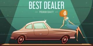 Affiche de marchand de vente de voiture de vintage rétro illustration stock