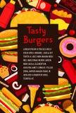 Affiche de menu d'hamburgers de restaurant d'aliments de préparation rapide de vecteur Images libres de droits