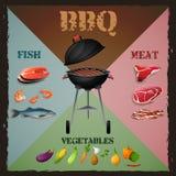 Affiche de menu de BBQ illustration stock