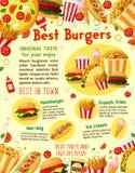 Affiche de menu de la livraison de vecteur d'hamburgers d'aliments de préparation rapide Images stock