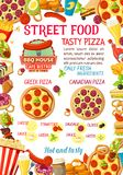 Affiche de menu de pizza d'hamburgers de nourriture de rue de vecteur Photo stock
