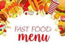 Affiche de menu de repas de rapide de vecteur Image stock