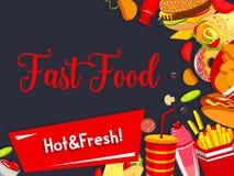 Affiche de menu de repas de restaurant d'aliments de préparation rapide de vecteur Image libre de droits