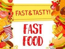Affiche de menu de restaurant d'aliments de préparation rapide de vecteur Image stock