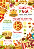 Affiche de menu de restaurant d'aliments de préparation rapide de vecteur Images stock