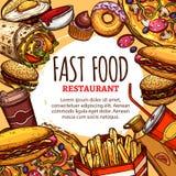 Affiche de menu de restaurant de prêt-à-manger de vecteur Photos libres de droits