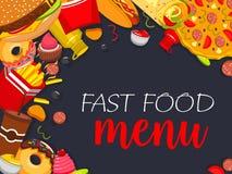 Affiche de menu de vecteur d'aliments de préparation rapide Illustration Stock