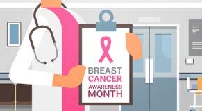Affiche de mois de conscience de cancer du sein avec la bannière femelle de prévention de docteur In Hospital Disease Image libre de droits