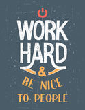 Affiche de motivation dure de travail Photographie stock