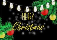 Affiche de Noël avec la guirlande Photographie stock