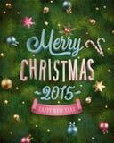 Affiche de Noël avec la texture et les babioles d'arbre de sapin Illustration de vecteur Photos stock