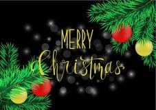 Affiche de Noël avec le lettrage de main Image libre de droits