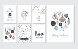 Affiche de Noël et cartes de voeux dans le rétro style Boules de Noël dans des couleurs en pastel, le paysage d'hiver et des mais illustration de vecteur