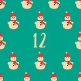 Affiche de Noël Noël coloré Advent Calendar Compte à rebours à Noël 12 Photo stock