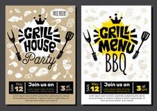 Affiche de nourriture de BBQ de partie de temps de gril La nourriture grillée, légumes de poissons de viande grillent l'épice de  illustration stock