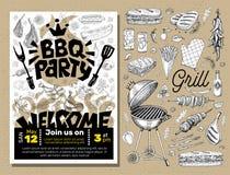 Affiche de nourriture de partie de BBQ Insecte d d'invitation de menu de calibre de barbecue Photos libres de droits