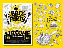 Affiche de nourriture de partie de BBQ Insecte d d'invitation de menu de calibre de barbecue Photo libre de droits