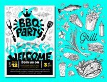 Affiche de nourriture de partie de BBQ Insecte d d'invitation de menu de calibre de barbecue Image libre de droits