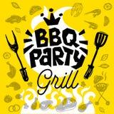 Affiche de nourriture de partie de BBQ Insecte d d'invitation de menu de calibre de barbecue Photo stock