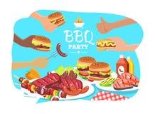 Affiche de partie de BBQ, illustration colorée de vecteur Images libres de droits