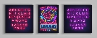 Affiche de partie de carnaval dans le style au néon Enseigne au néon, calibre de conception, brochure, affiche légère de nuit La  illustration stock