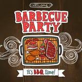 Affiche de partie de gril de BBQ Illustration de Vecteur