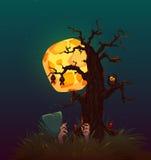 Affiche de partie de Halloween avec la sorcière et la lune Vecteur Image stock