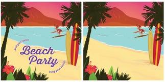 Affiche de partie de plage Photographie stock libre de droits