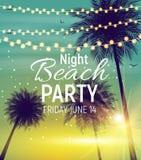 Affiche de partie de plage de nuit d'été WI tropicaux de fond naturel illustration de vecteur
