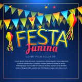 Affiche de partie de junina de Festa illustration stock