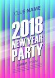 Affiche de partie de la nouvelle année 2018 avec le fond rougeoyant abstrait Image stock