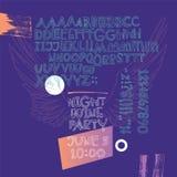 Affiche de partie de nuit Manuscrit vilain géométrique expressif avec les lettres alternatives illustration stock